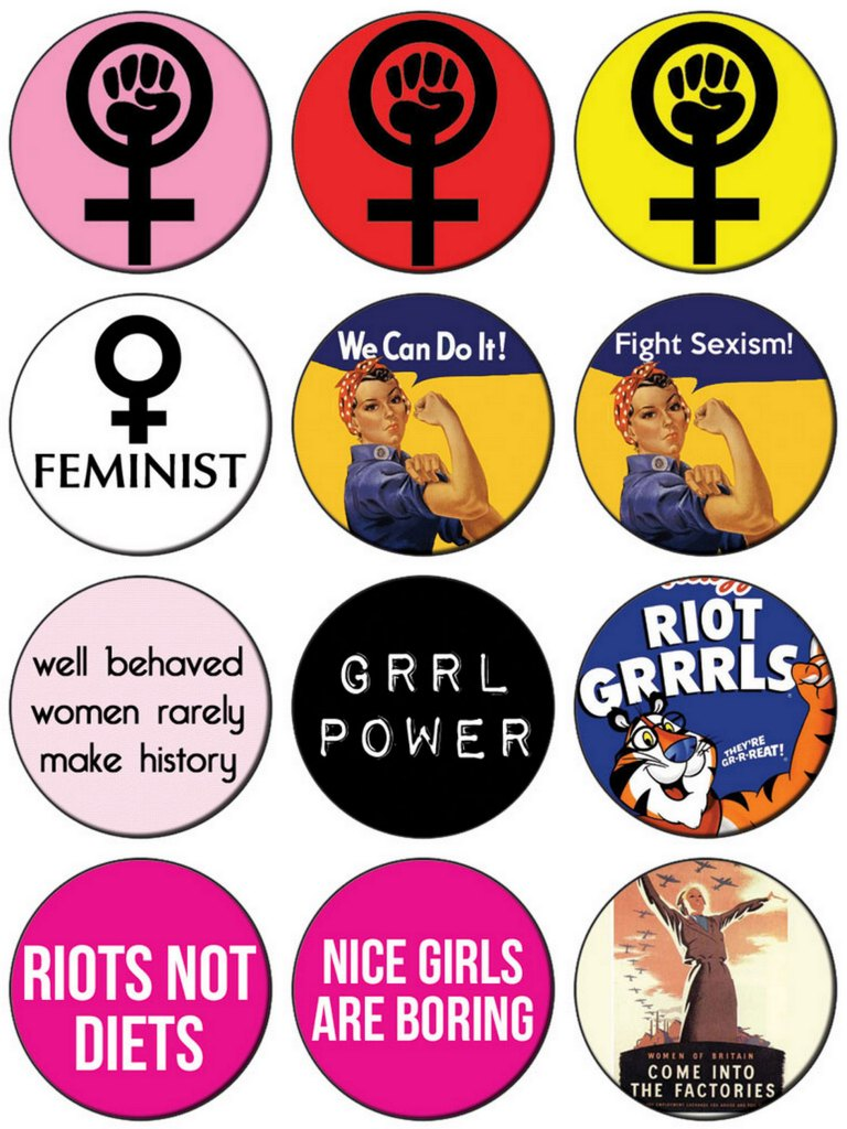 Feminist Button Badges from Campdave Badges