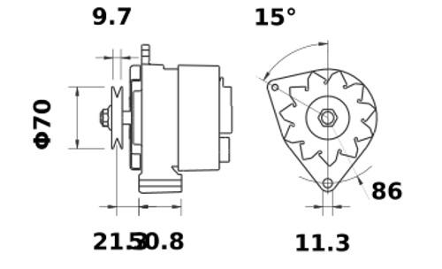 Lichtmaschine Marine 24V/55A f.DAF DD515 DD575 DF615 DT615