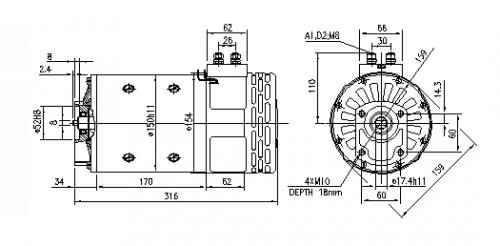 DC Motor Gleichstrommotor CR 48V/3,7KW f.Iskra IM0360