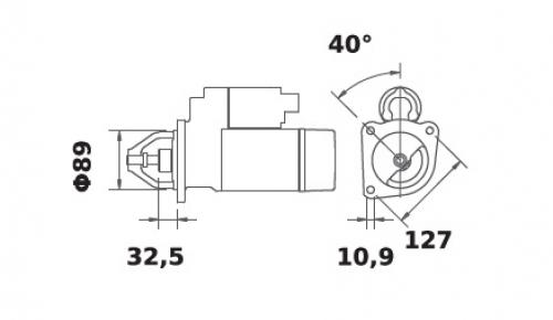 Anlasser Reduktionsgetriebestarter 12V/3,2kw 10z f.Iskra