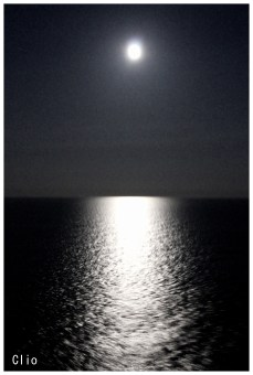 Moon view on the ship