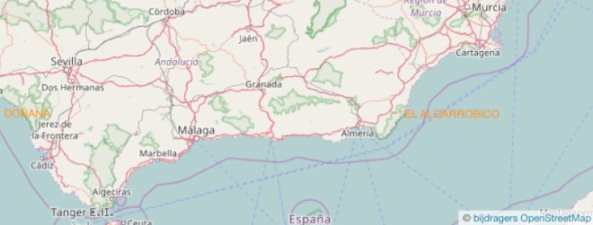 Een overzicht van de gebieden in zuid-Spanje.