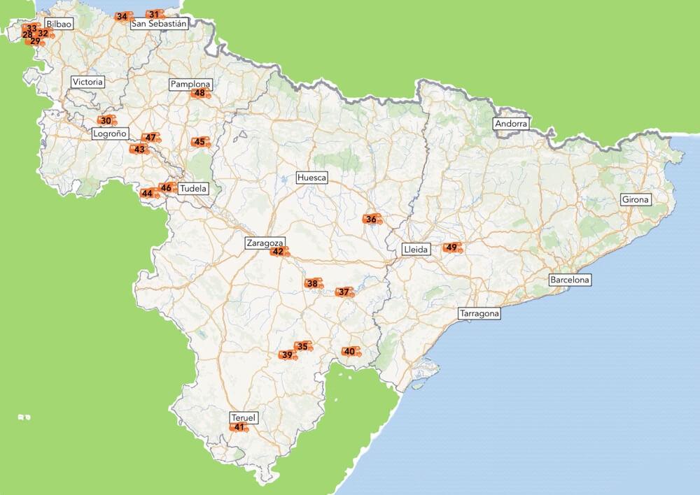 De gerealiseerde camperplekken van Baskenland, La Rioja, Navarra, Aragon en Catalonië