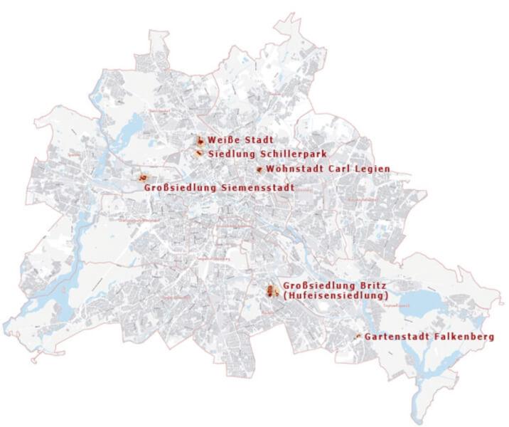 De zes Unesco Werelderfgoederen in Berlijn. Kaart van Stadtentwickelung.berlin.de