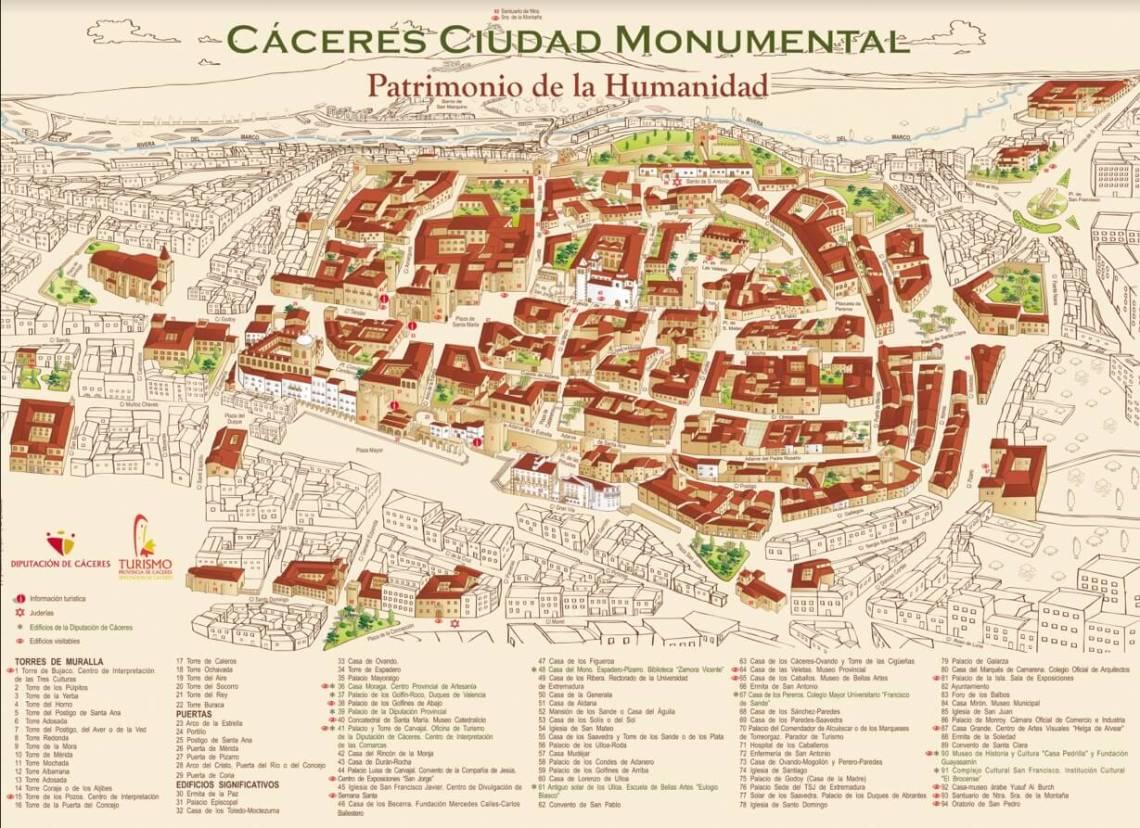 De stadskaart van Cáceres. Je kunt de kaart via deze link downloaden.
