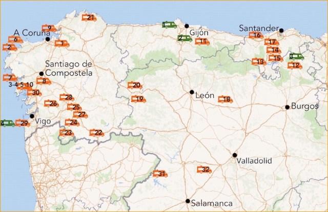 Onderliggende kaarten: OpenStreetMap. (Camperplekken).