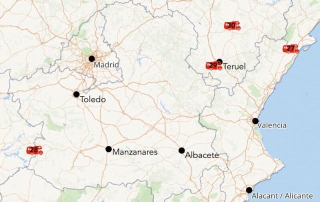 Kaart met de (geplande) nieuwe camperplekken in het midden van Spanje.