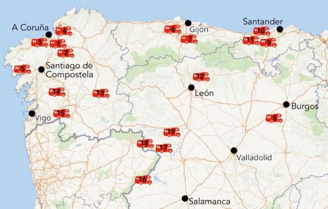 Kaart met (geplande) nieuwe camperplekken in het noorden van Spanje.