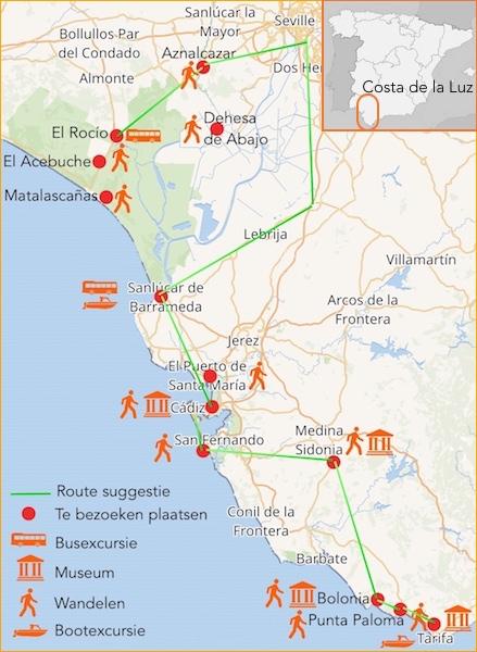 Een kaart van de route langs de Costa de la Luz.