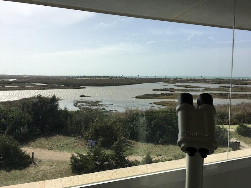 Vanuit het bezoekerscentrum heb je zicht op de marismas (moerassen) en verderop zie je de wandelroute Punta del Boquerón.