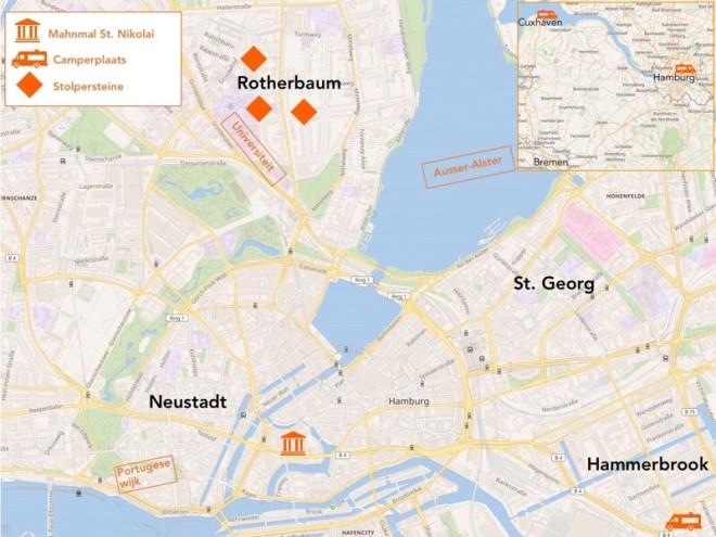 Kaart van Hamburg.