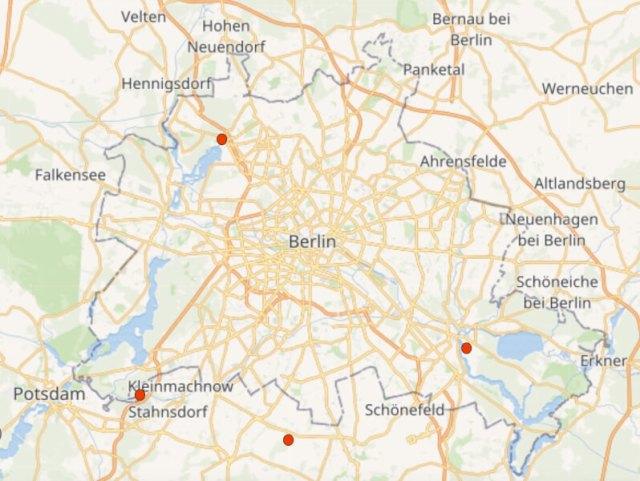 Kaart Berlijn met de vier plekken waar we verblijven