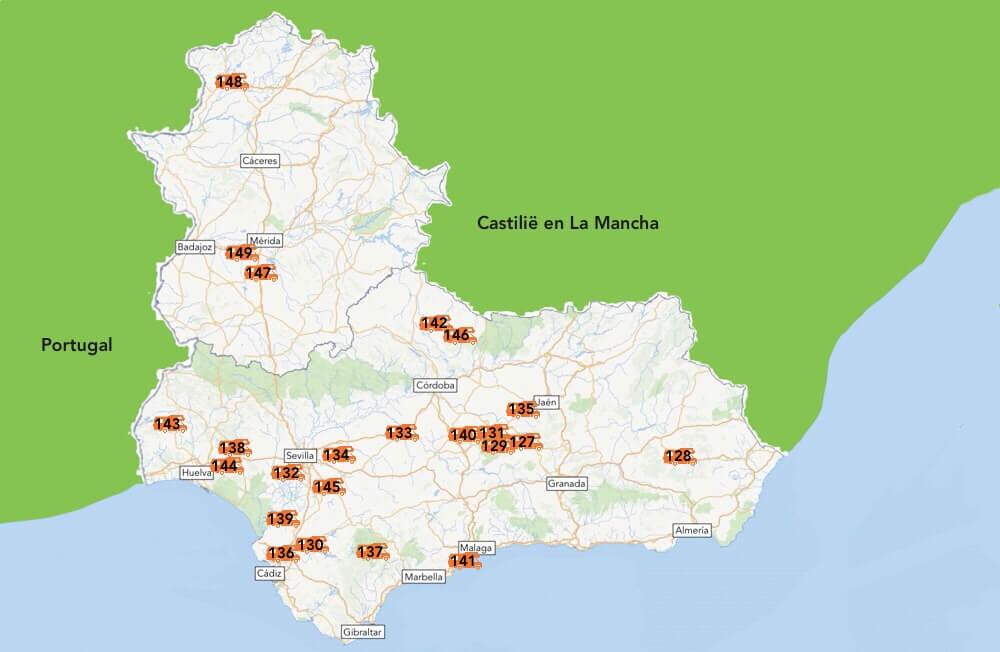 De camperplaatsen van Andalusië en Extremadura.