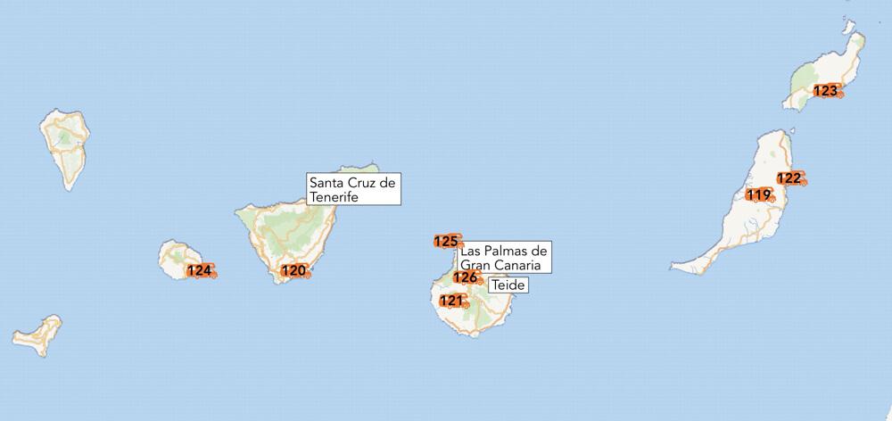 De camperplekken van de Canarische eilanden.
