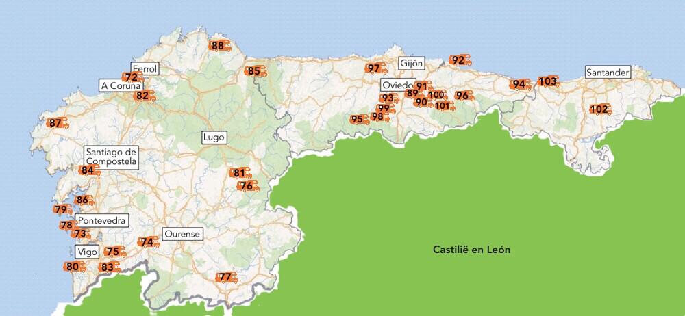 De cp´s van Galicië, Asturië en Cantabrië.