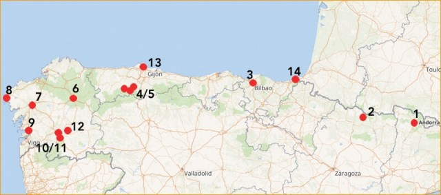 Dit wordt onze route door het noorden van Spanje. 1. Espot, 2. Torla, 3. Bilbao, 4/5. Natuurpark Somiedo met Teverga en Pola de Somiedo, 6. Lugo, 7. Santiago de Compostela, 8. Fisterre, 9. Pontevedra, 10/11. Ourense en Allariz, 12. Parado do Sil, 13. Candas met Gijon en Oviedo en 14. Hondarribia met San Sebastian.