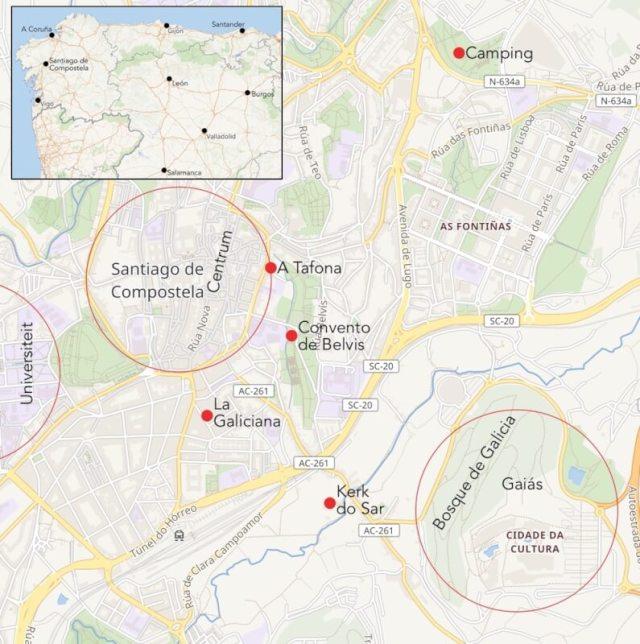 Kaart van Santiago de Compostela met directe omgeving.