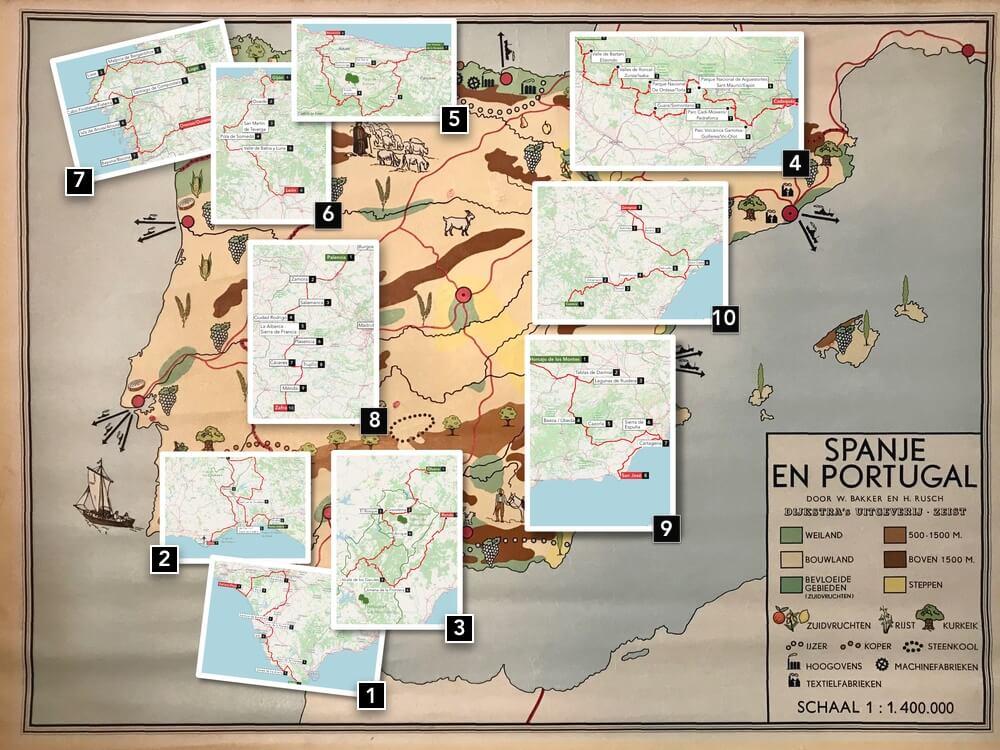 De 10 uitgewerkte routes door Spanje en stukje Portugal.