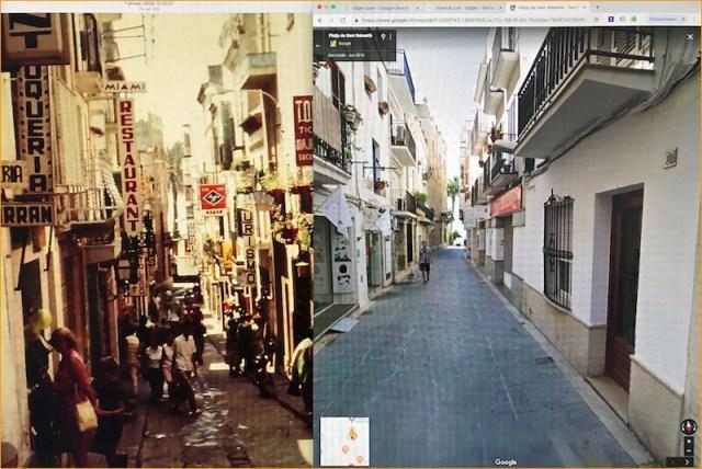 De winkelstraat in Sitges in 1967. Vol met reclame en zonder voetgangerszone. Op de rechter foto de rustiger ogende winkelstraat volgens Google View.
