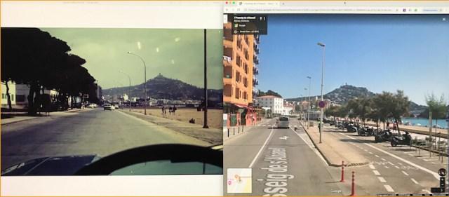 Op de linker foto zie je de kustweg van Blanes. De actuele situatie (rechts) laat Google