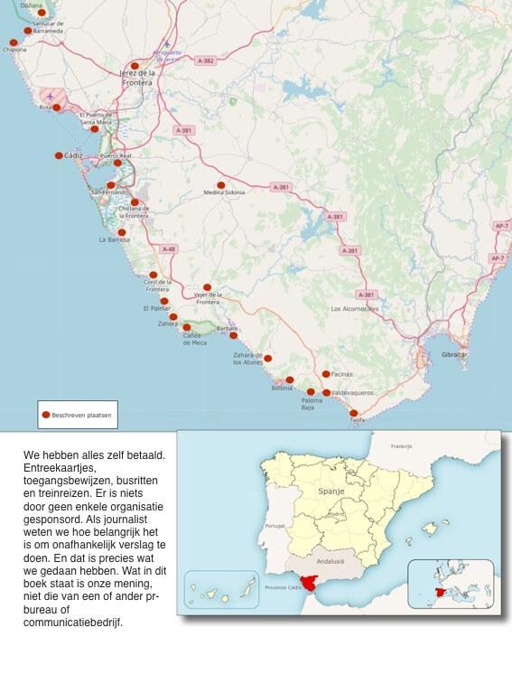 De bezochte plaatsen en streken aan de Costa de la Luz Zuid.