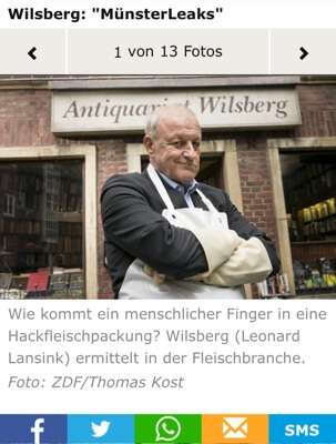 Leonard Lansink als Wilsberg voor z'n antiquariaat. Op de sociale media wordt volop reclame voor de speurneus uit Münster gemaakt.