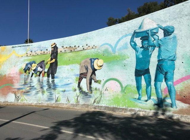 Muurschildering in rijststad Alcácer do Sal in Portugal.