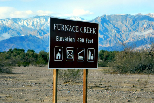 Elevation at Furnace Creek in Death Valley National Park: 190 Feet below sea level