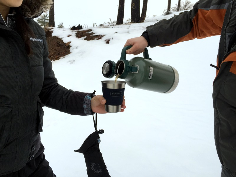 Hot Drinks During a Snow Adventure with Stanley and Kam of Campfire Chic