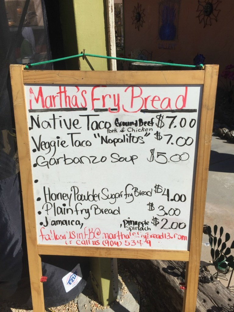 Martha's Fry Bread Menu at Cactus Mart - Big Morongo Canyon - Campfire Chic