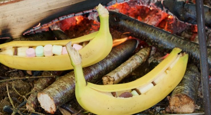 Campfire Bananas stuffed with Chocolate and Marshmallows