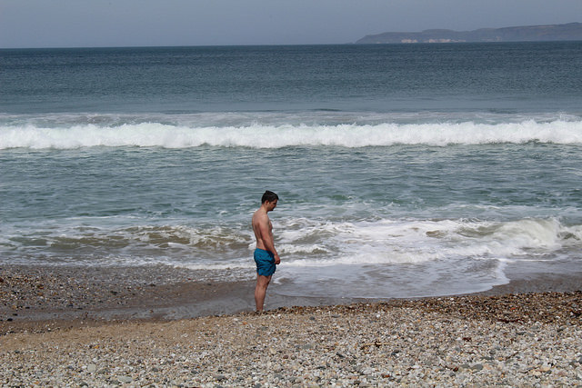 Negotiating the sore beach with Rathlin Island behind me.