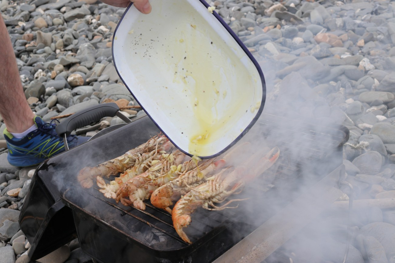 BBQed Langoustines with Lemon and Garlic