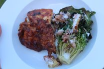 We served the BBQ Peppup Chicken Thighs with a Grilled Caesar Salad
