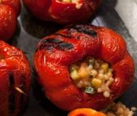 Roast stuffed red peppers