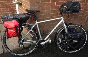 camping kit on bike