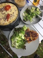 Chickpea 'omelette' with salad