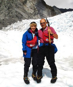 Ice with a slice - Eileen and Martin on the Franz Josef glacier.