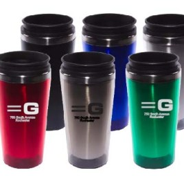 Crane- Custom bulk, translucent acrylic travel mug with stainless steel liner