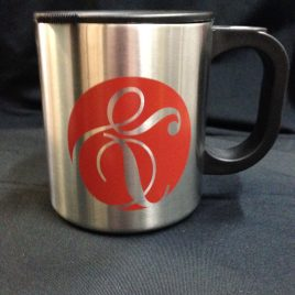 Ram - Custom Printed Bulk 12oz. Stainless Steel Desk Mug with Lid
