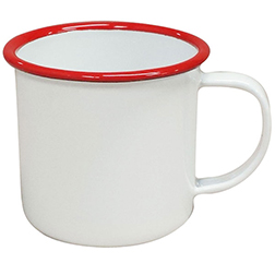 Safari Mug- Bulk Custom Printed 12oz White Enameled Steel Cup with Colored Rim