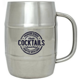 Coyote- Bulk Custom Printed 14oz Double Wall Stainless Steel Barrel Beer Mug with Handle