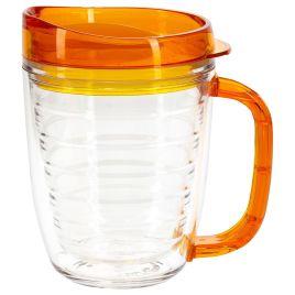 bulk custom printed 12oz Tritan mug with translucent handle and lid