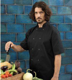 Unisex Studded Front Short-Sleeve Chef's Coat
