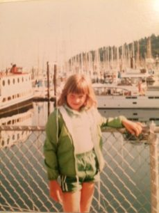 "Sara, waiting to board ""Da Boata"" to Camp Sealth in 1981."