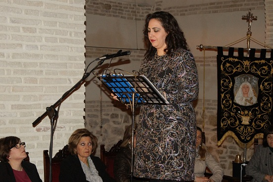 Isabel María López Castillo en un momento del pregón de Semana Santa.