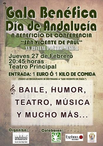Cartel del Día de Andalucía, en Andújar.