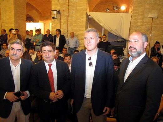Antonio Oliver, Francisco Reyes, José Manuel Ríos y Javier Imbroda antes de este acto.