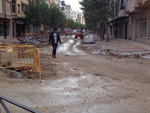 Estado actual de las obras en la calle Corredera de Capuchinos, de Andújar.