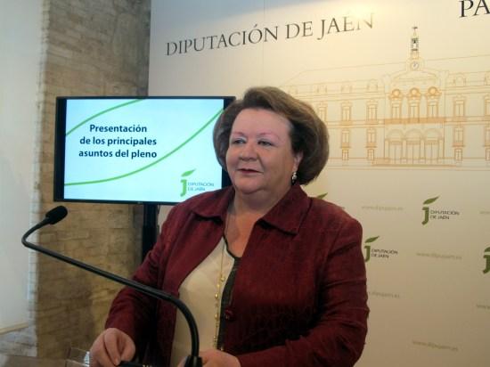 Pilar Parra, durante su comparecencia sobre el próximo pleno de la Diputación.